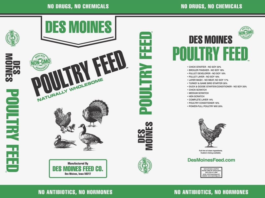 bag of Des Moines Feed poultry feed